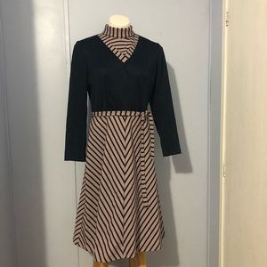 Vintage 70's Union Made A-Line High Neck Dress 14